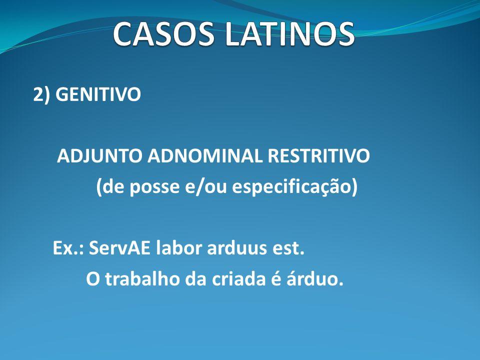 CASOS LATINOS 2) GENITIVO ADJUNTO ADNOMINAL RESTRITIVO