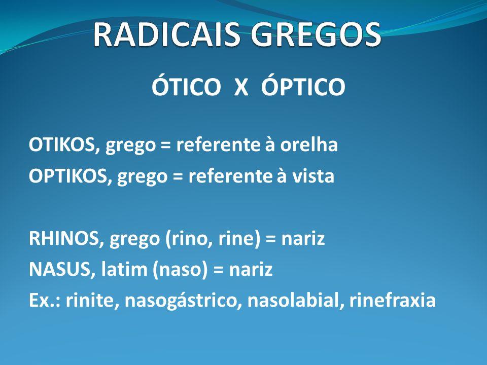 RADICAIS GREGOS ÓTICO X ÓPTICO OTIKOS, grego = referente à orelha
