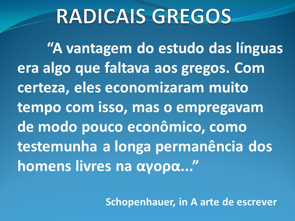 RADICAIS GREGOS