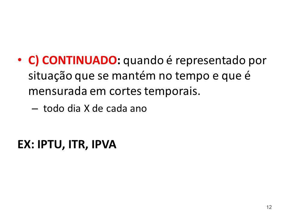 C) CONTINUADO: quando é representado por situação que se mantém no tempo e que é mensurada em cortes temporais.
