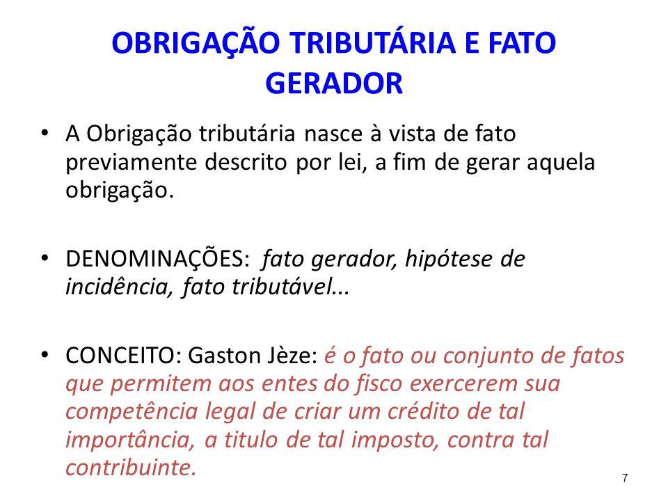 OBRIGAÇÃO TRIBUTÁRIA E FATO GERADOR