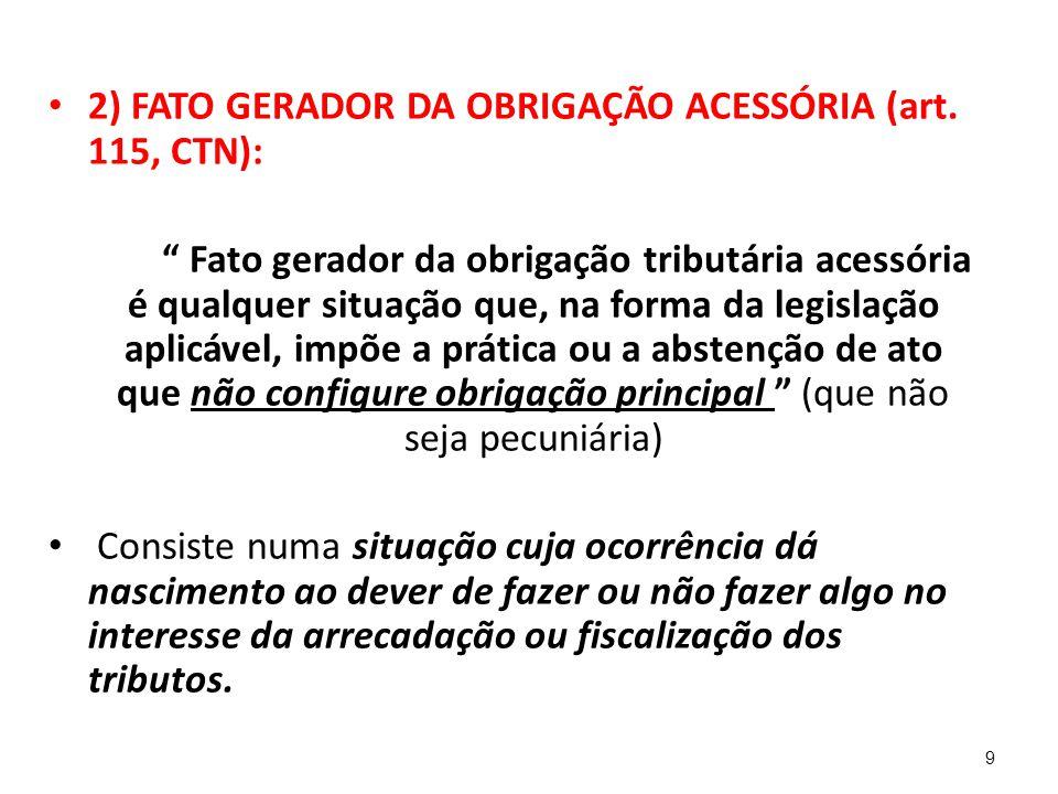2) FATO GERADOR DA OBRIGAÇÃO ACESSÓRIA (art. 115, CTN):