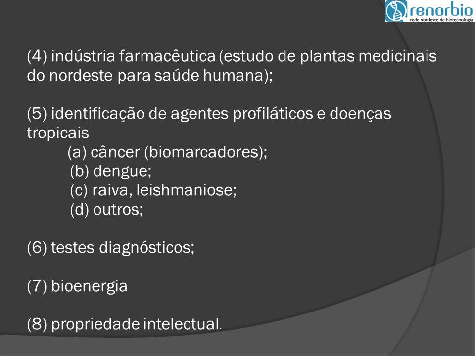(4) indústria farmacêutica (estudo de plantas medicinais do nordeste para saúde humana); (5) identificação de agentes profiláticos e doenças tropicais (a) câncer (biomarcadores); (b) dengue; (c) raiva, leishmaniose; (d) outros; (6) testes diagnósticos; (7) bioenergia (8) propriedade intelectual.
