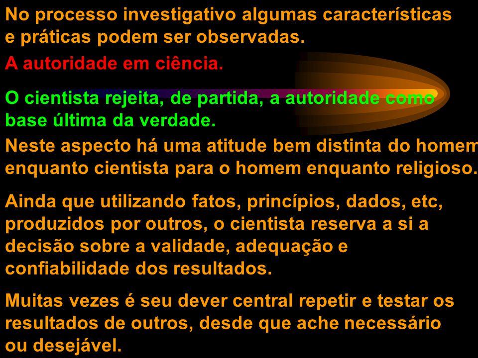 No processo investigativo algumas características e práticas podem ser observadas.