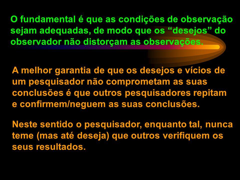 O fundamental é que as condições de observação sejam adequadas, de modo que os desejos do observador não distorçam as observações.