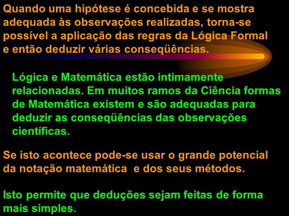 Quando uma hipótese é concebida e se mostra adequada às observações realizadas, torna-se possível a aplicação das regras da Lógica Formal e então deduzir várias conseqüências.