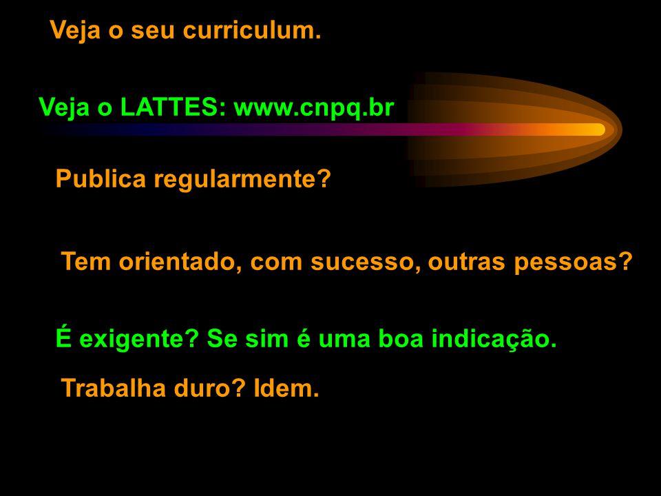 Veja o seu curriculum. Veja o LATTES: www.cnpq.br. Publica regularmente Tem orientado, com sucesso, outras pessoas