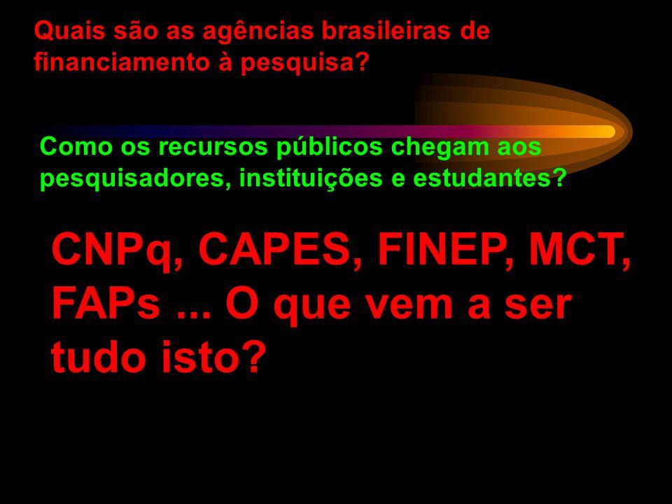 CNPq, CAPES, FINEP, MCT, FAPs ... O que vem a ser tudo isto