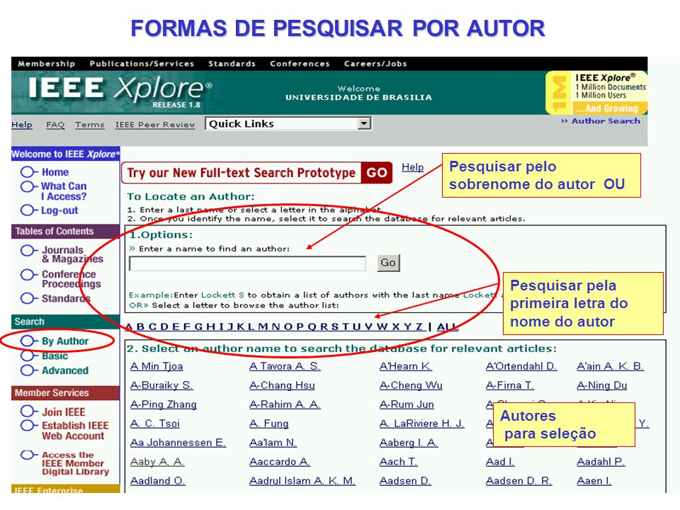 FORMAS DE PESQUISAR POR AUTOR