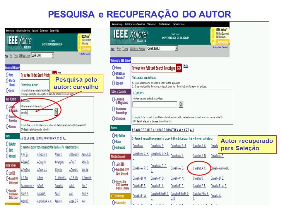 PESQUISA e RECUPERAÇÃO DO AUTOR Pesquisa pelo autor: carvalho