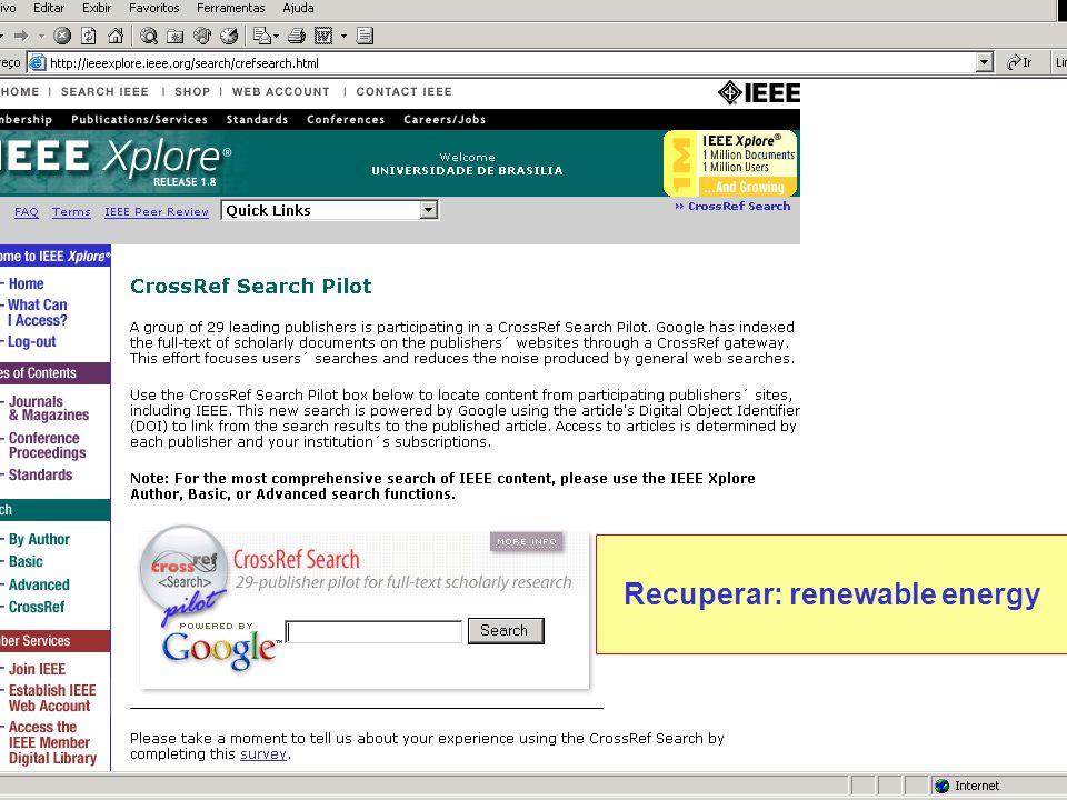 Recuperar: renewable energy