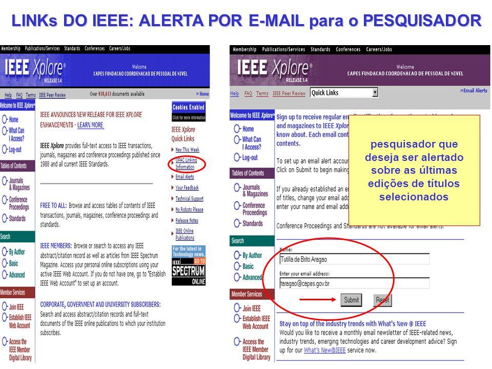 LINKs DO IEEE: ALERTA POR E-MAIL para o PESQUISADOR