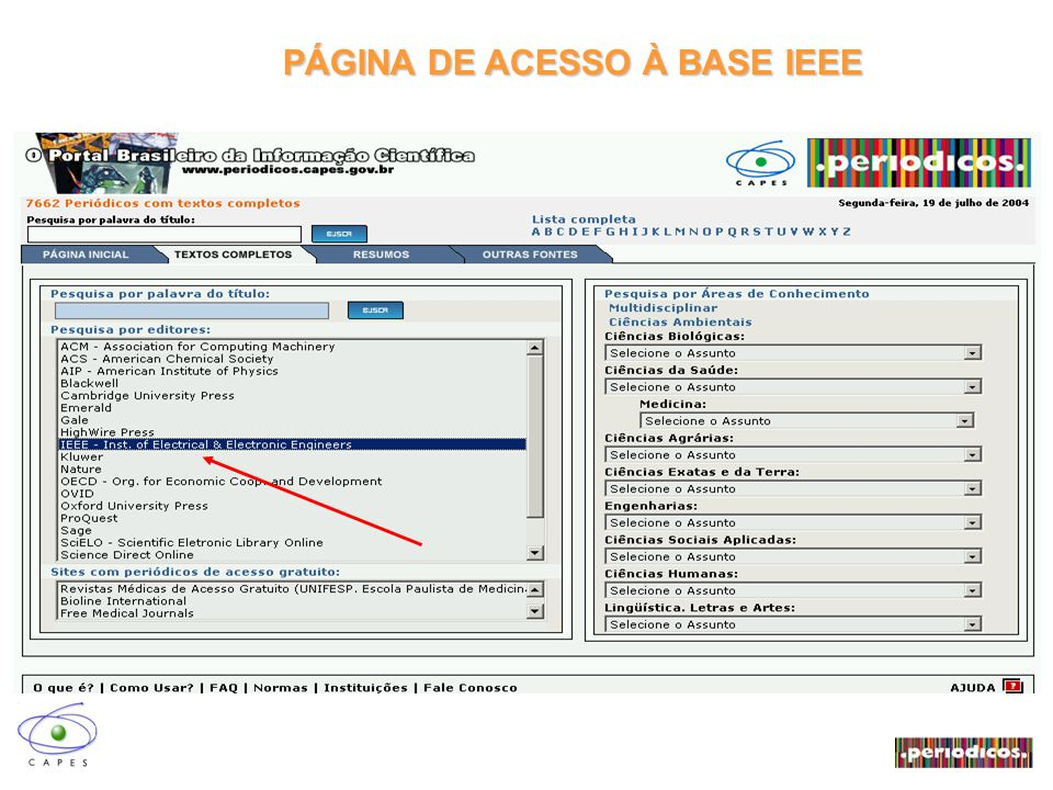 PÁGINA DE ACESSO À BASE IEEE