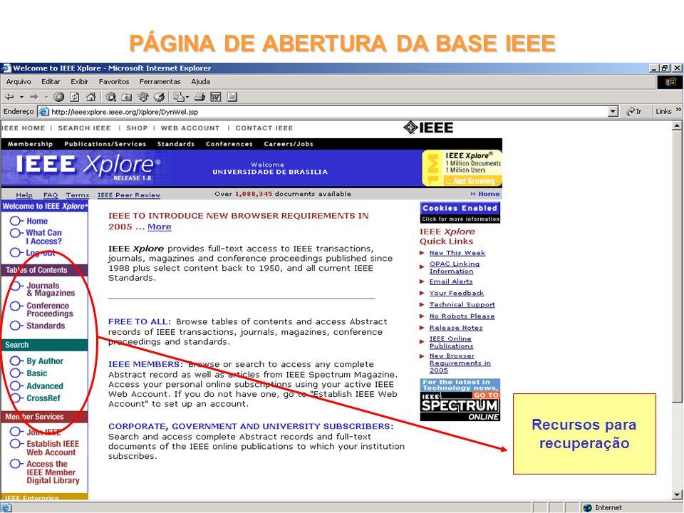 PÁGINA DE ABERTURA DA BASE IEEE
