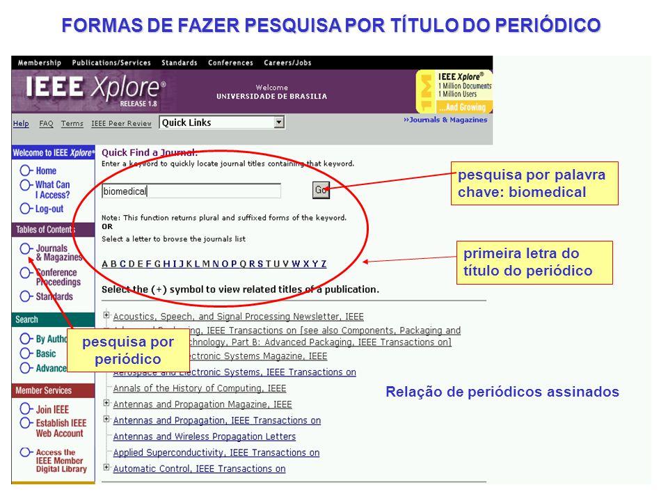 FORMAS DE FAZER PESQUISA POR TÍTULO DO PERIÓDICO
