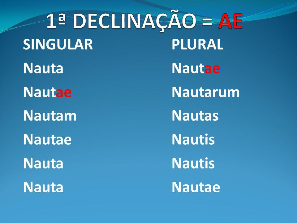 1ª DECLINAÇÃO = AE SINGULAR PLURAL Nauta Nautae Nautae Nautarum
