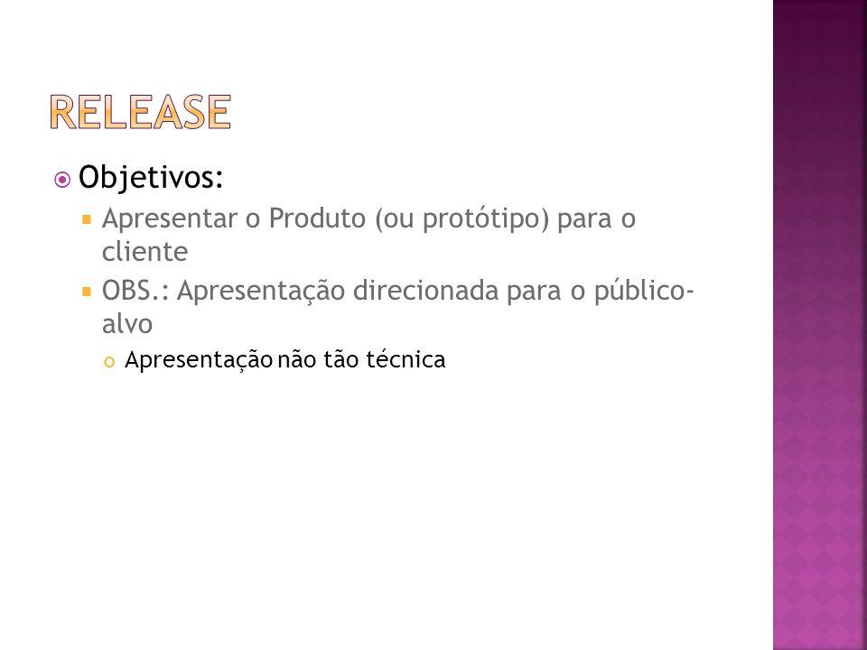 ReleasE Objetivos: Apresentar o Produto (ou protótipo) para o cliente