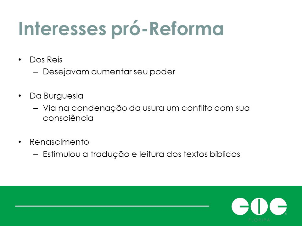 Interesses pró-Reforma