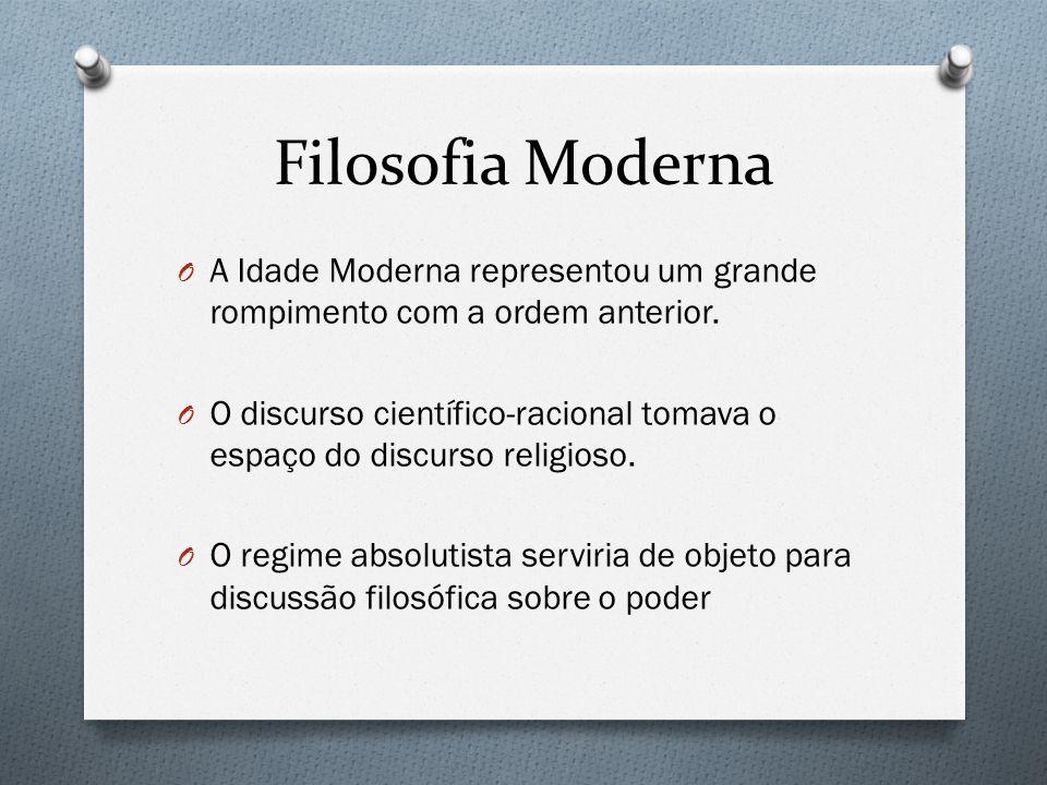 Filosofia Moderna A Idade Moderna representou um grande rompimento com a ordem anterior.