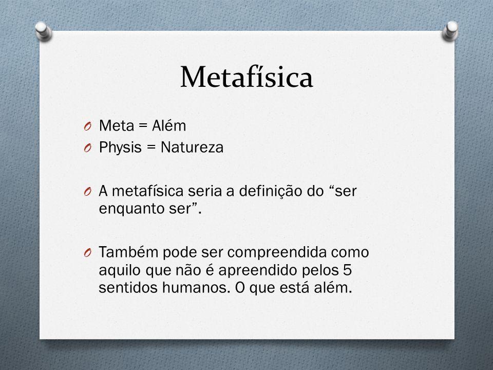 Metafísica Meta = Além Physis = Natureza