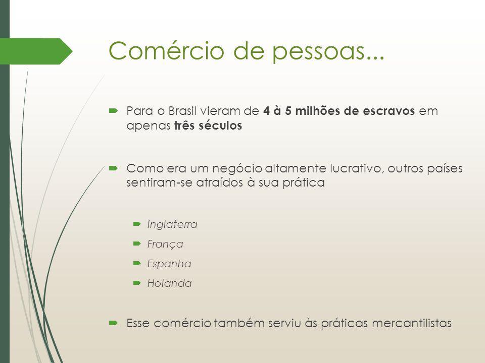 Comércio de pessoas... Para o Brasil vieram de 4 à 5 milhões de escravos em apenas três séculos.