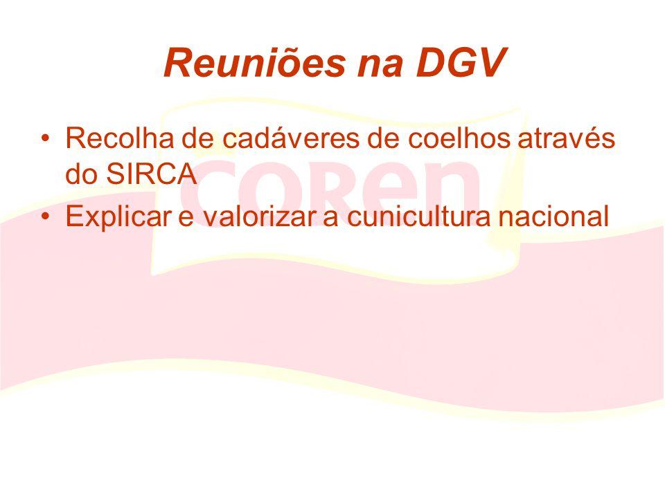 Reuniões na DGV Recolha de cadáveres de coelhos através do SIRCA