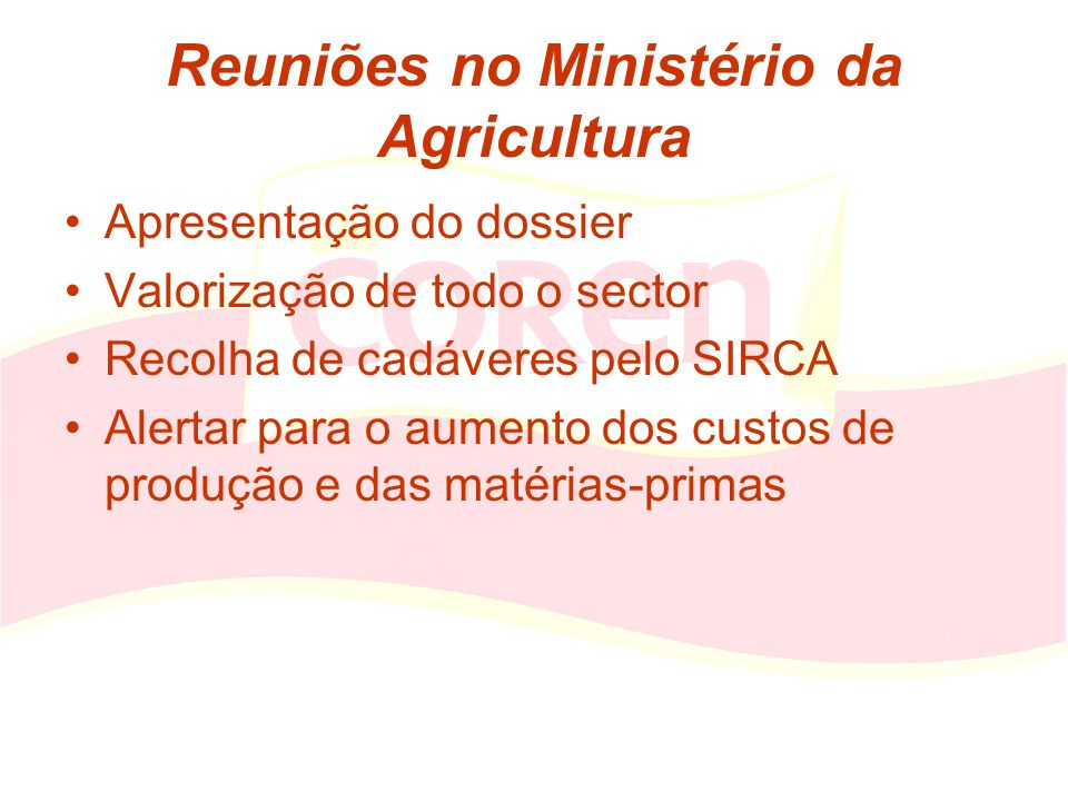 Reuniões no Ministério da Agricultura