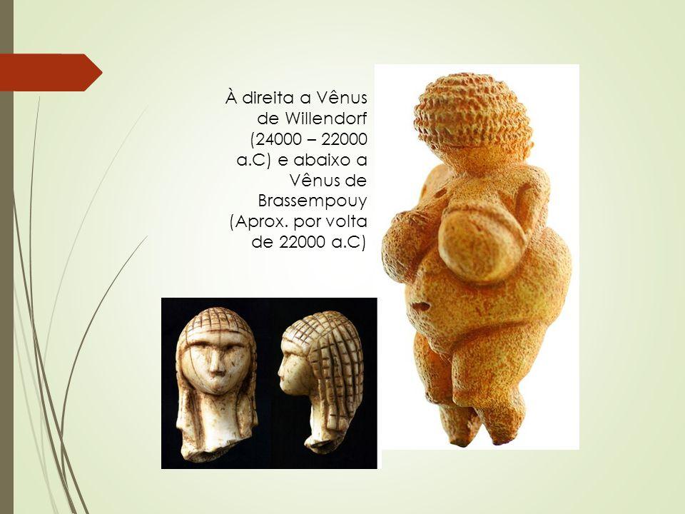 À direita a Vênus de Willendorf (24000 – 22000 a