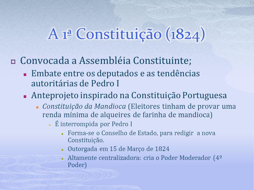 A 1ª Constituição (1824) Convocada a Assembléia Constituinte;