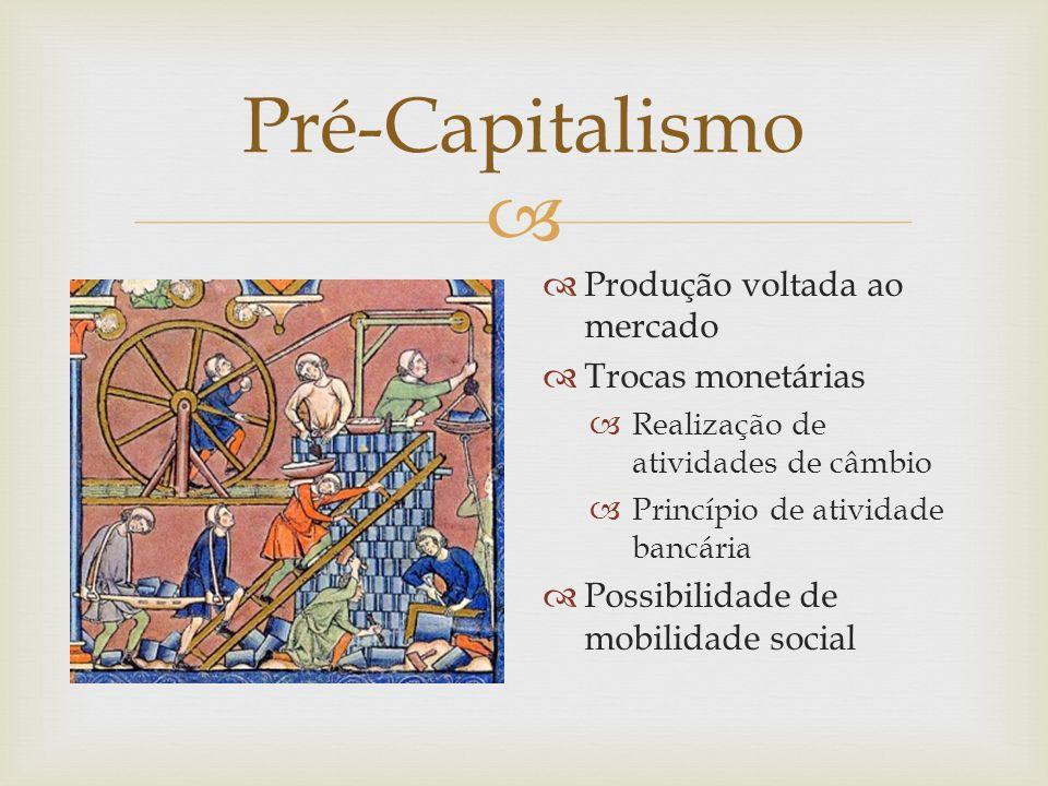 Pré-Capitalismo Produção voltada ao mercado Trocas monetárias
