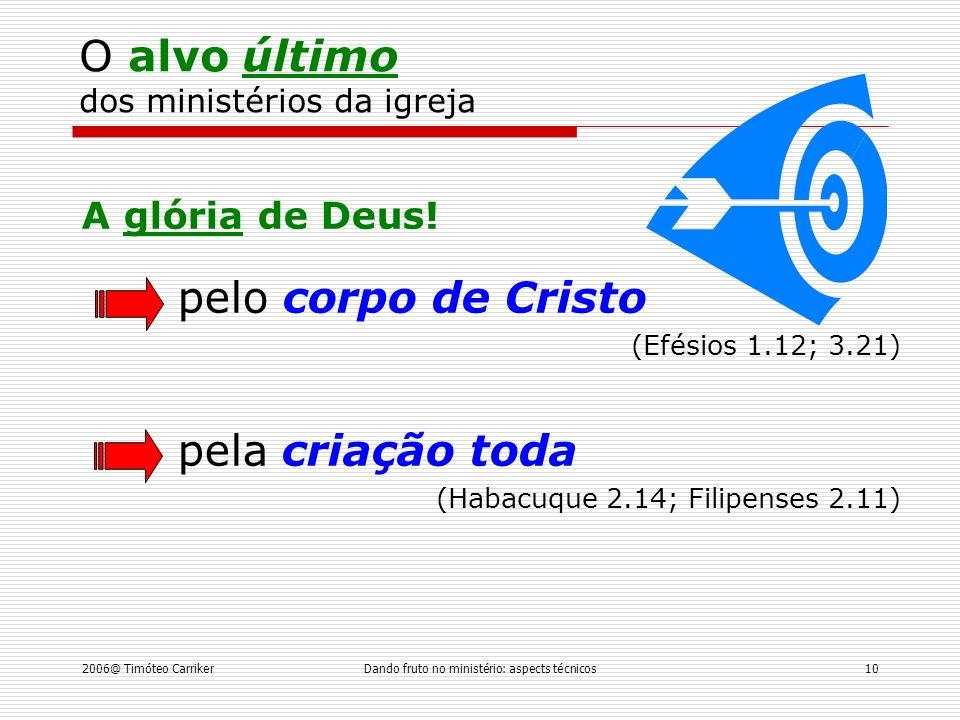 O alvo último dos ministérios da igreja