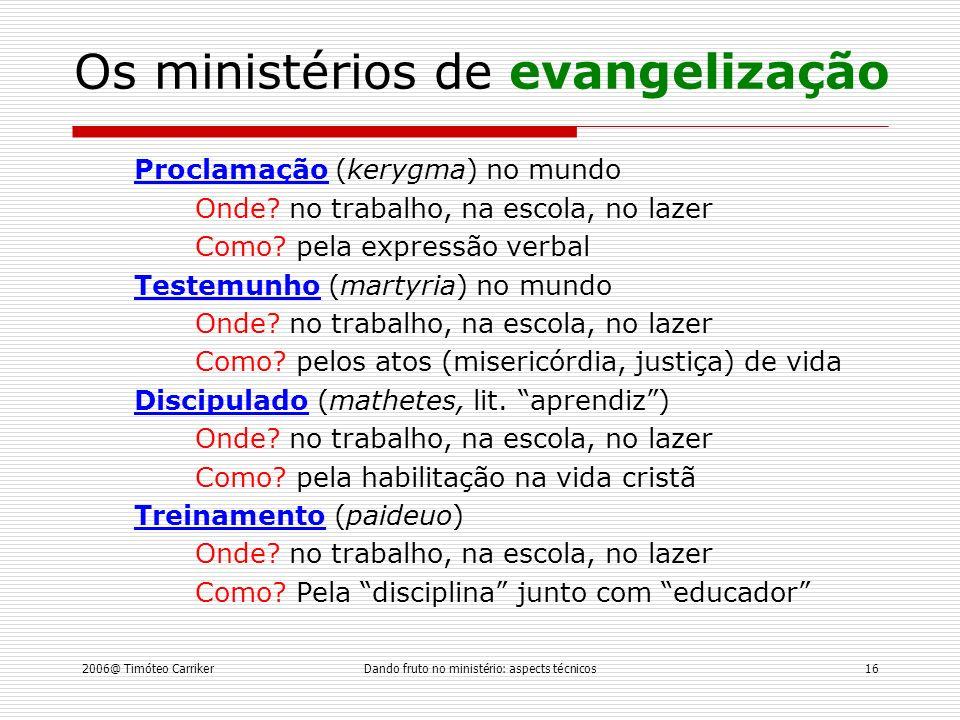 Os ministérios de evangelização