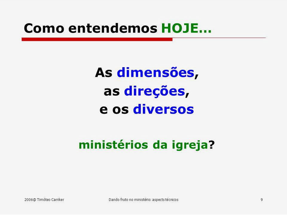As dimensões, as direções, e os diversos ministérios da igreja