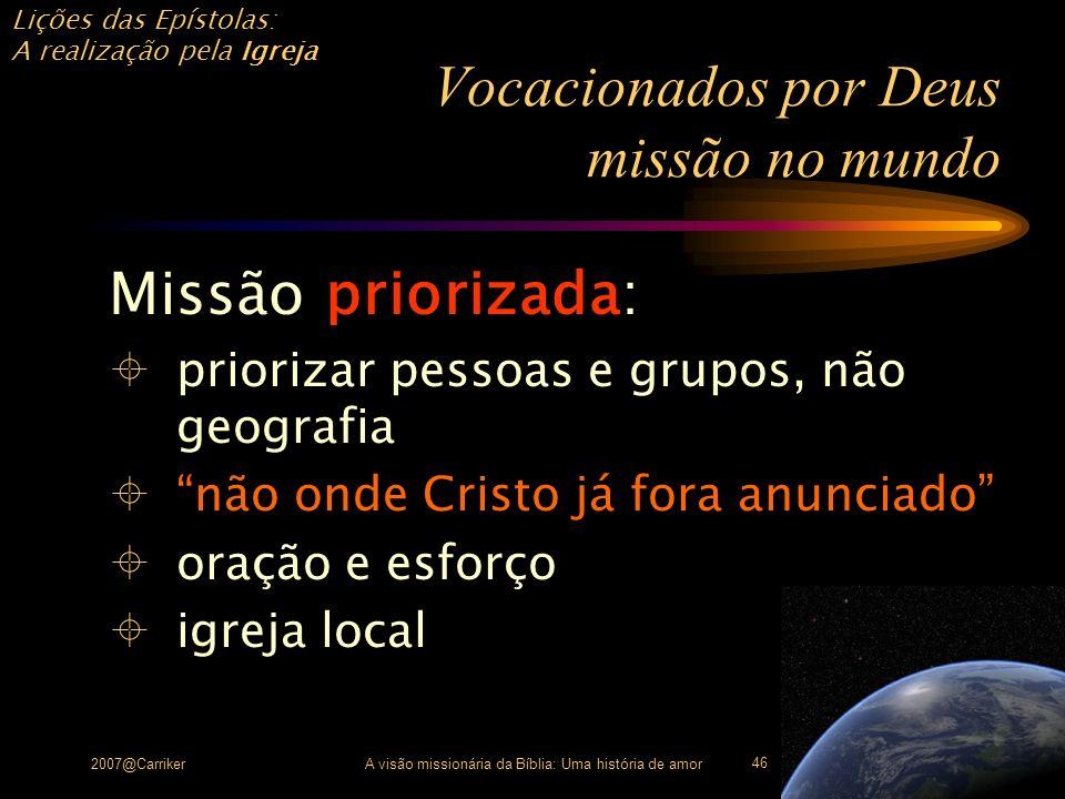 Vocacionados por Deus missão no mundo