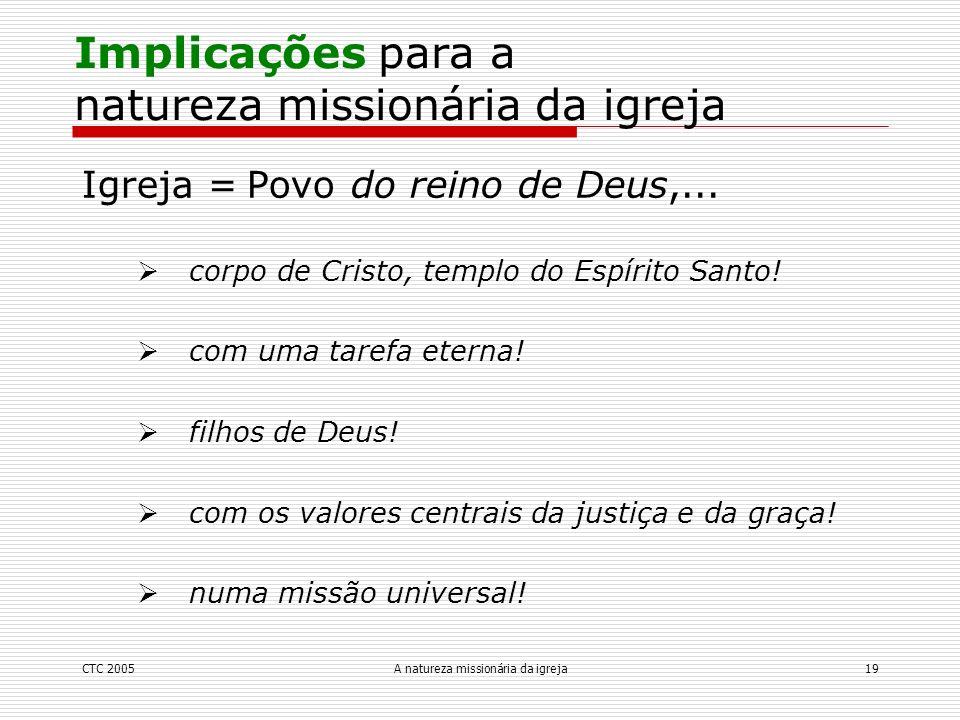 Implicações para a natureza missionária da igreja