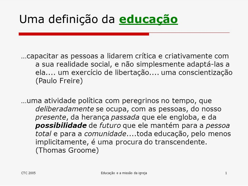 Uma definição da educação