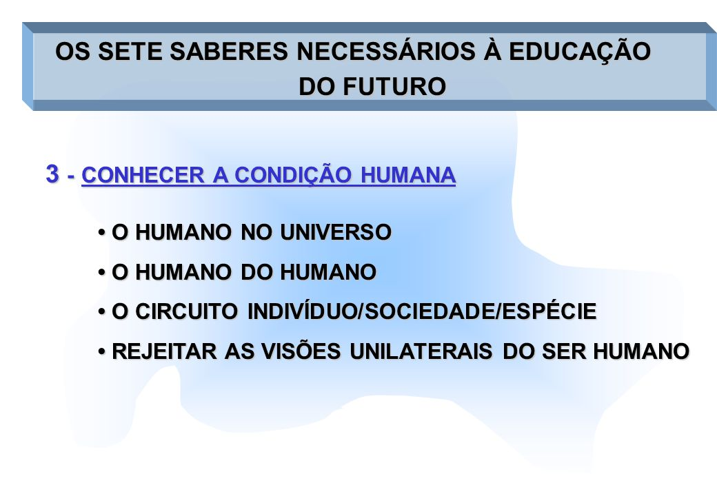 3 - CONHECER A CONDIÇÃO HUMANA