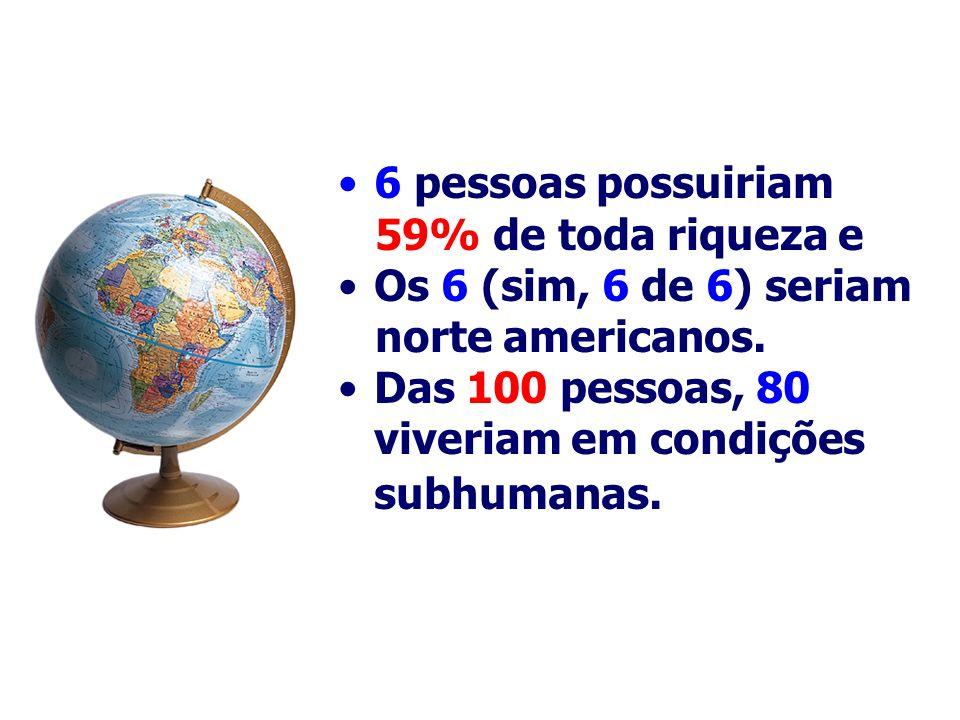 6 pessoas possuiriam59% de toda riqueza e.Os 6 (sim, 6 de 6) seriam.