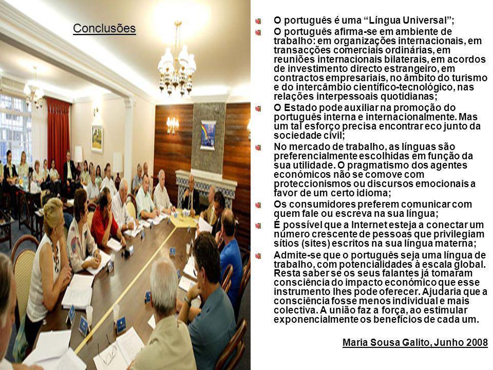 Conclusões O português é uma Língua Universal ;