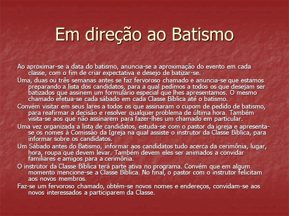 Em direção ao Batismo