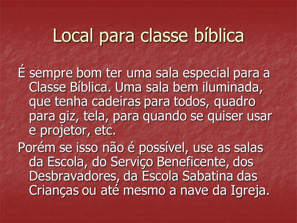 Local para classe bíblica