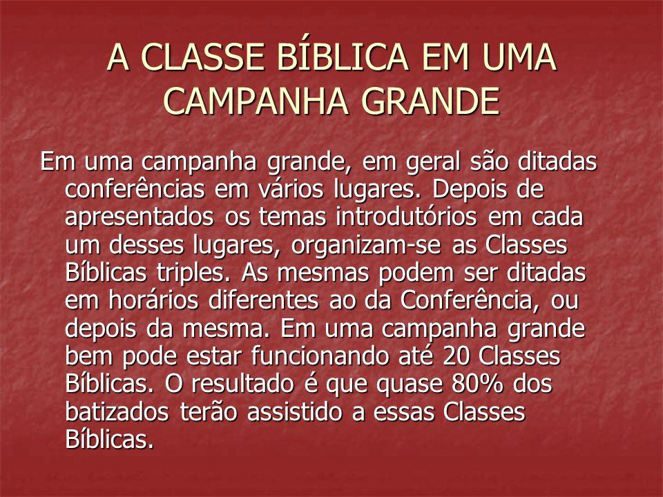 A CLASSE BÍBLICA EM UMA CAMPANHA GRANDE