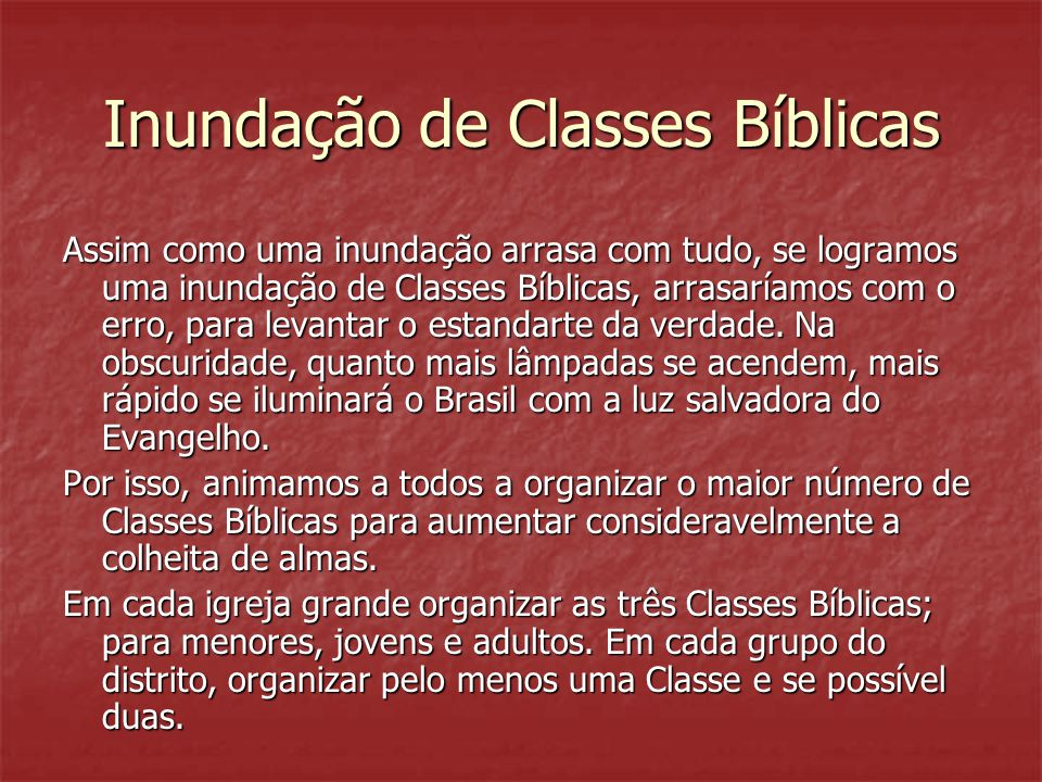 Inundação de Classes Bíblicas