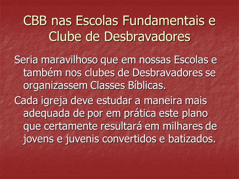 CBB nas Escolas Fundamentais e Clube de Desbravadores