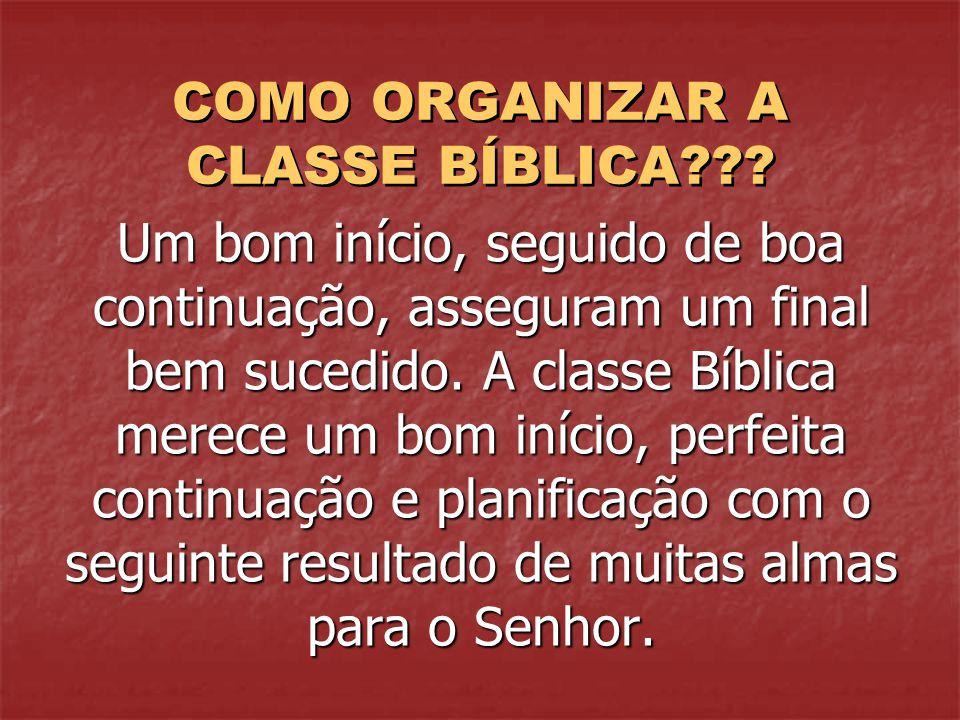 COMO ORGANIZAR A CLASSE BÍBLICA