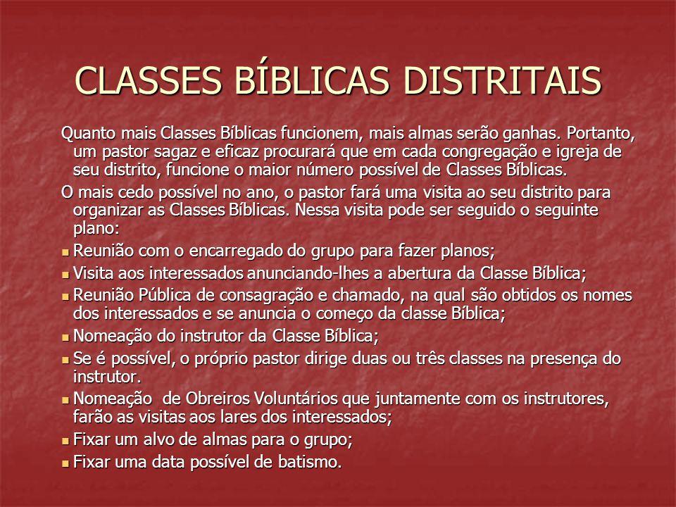 CLASSES BÍBLICAS DISTRITAIS