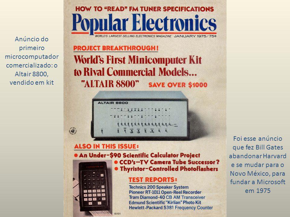 Anúncio do primeiro microcomputador comercializado: o Altair 8800, vendido em kit