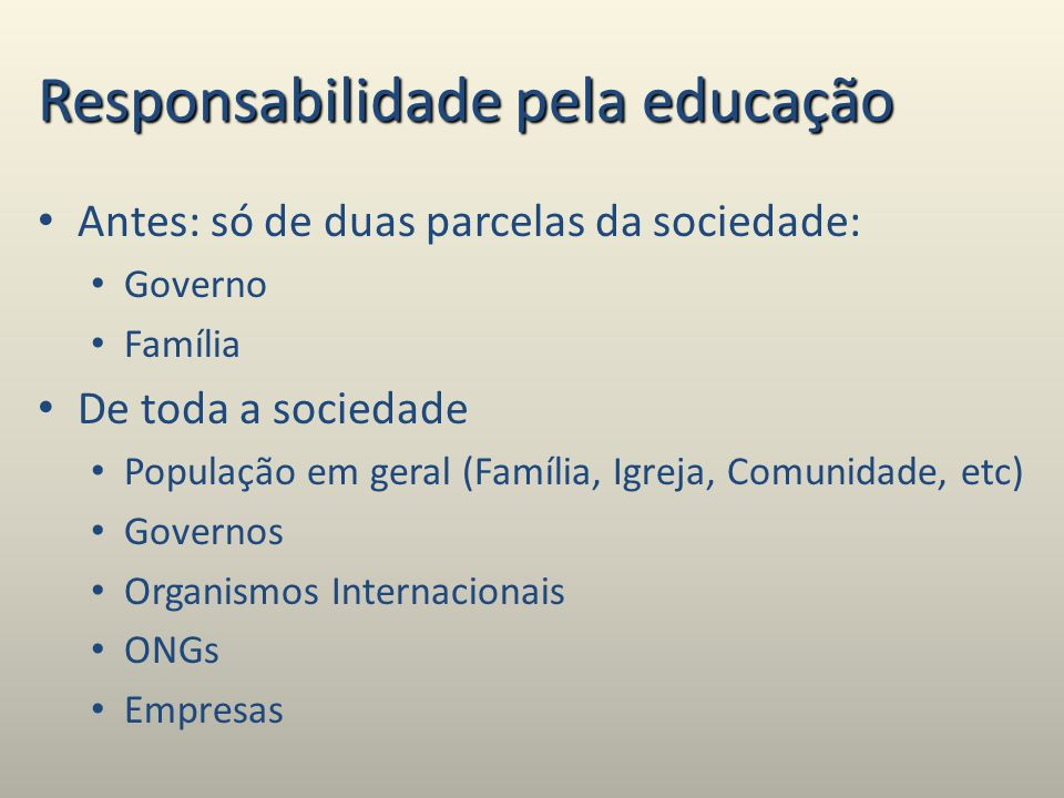 Responsabilidade pela educação