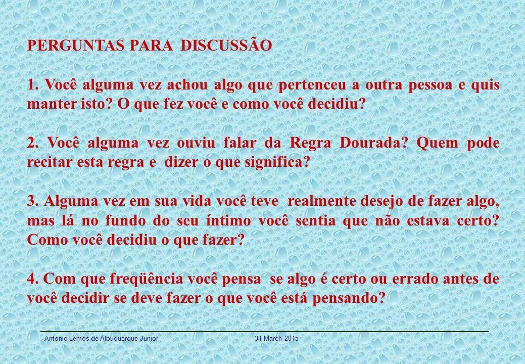 PERGUNTAS PARA DISCUSSÃO