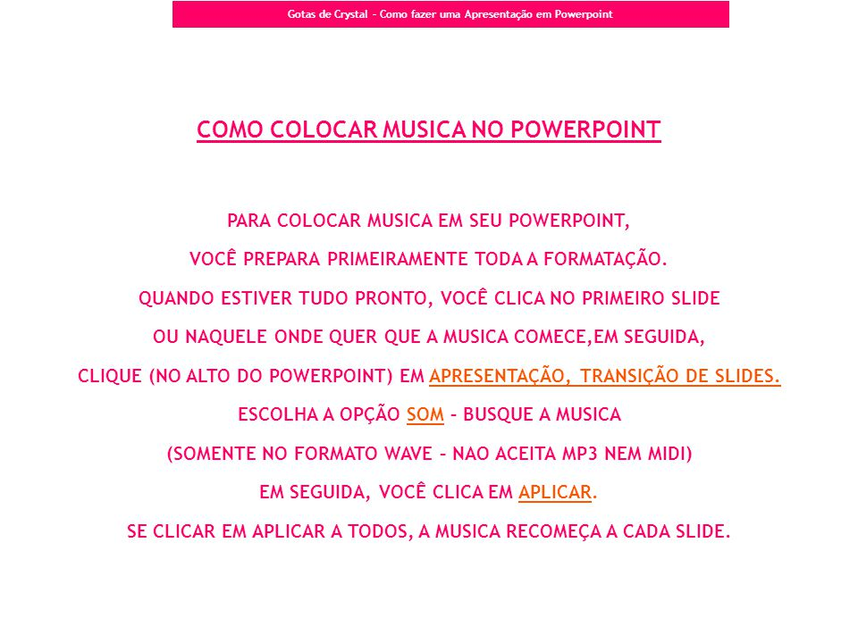 COMO COLOCAR MUSICA NO POWERPOINT